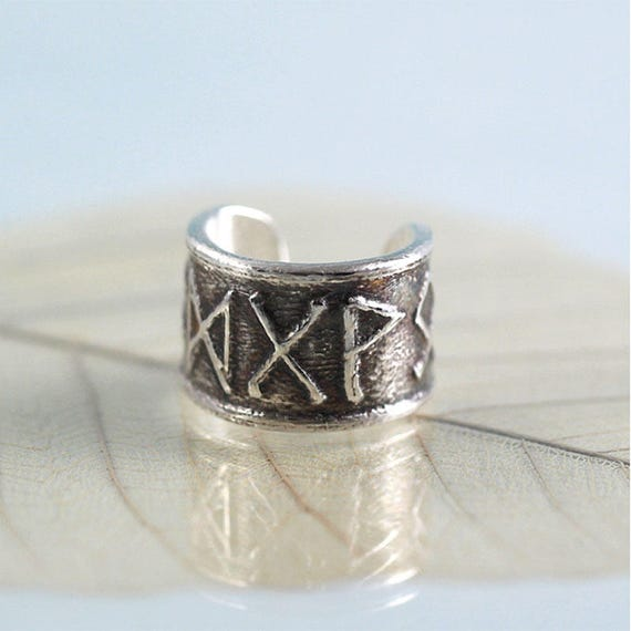 Silver Ear Cuff with Custom Viking Runes