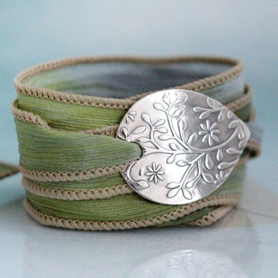 Flower Silk Wrap Bracelet Silver Nature jewelry Handmade Botanical Silver jewellery Clematis  Nature Lover Gift Silk Cuff