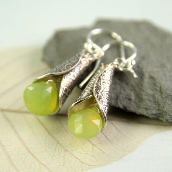Silver Chalcedony Earrings - Elven Silver Cones Dangle Gemstones Apple Green  Fantasy Jewellery  Bell Earrings