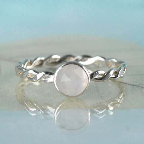 Silver Moonstone Ring with a Twist