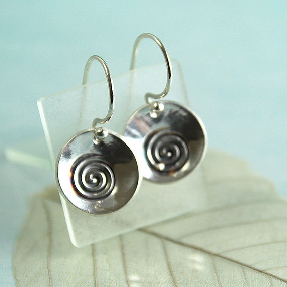 Silver Dangle Earrings with Spiral Design