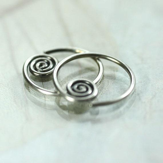 Spiral Silver Hoops Sideways Sleeper Earrings