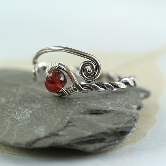 Garnet Twist Ring  Rustic Adjustable Silver Gem Ring  January Gift