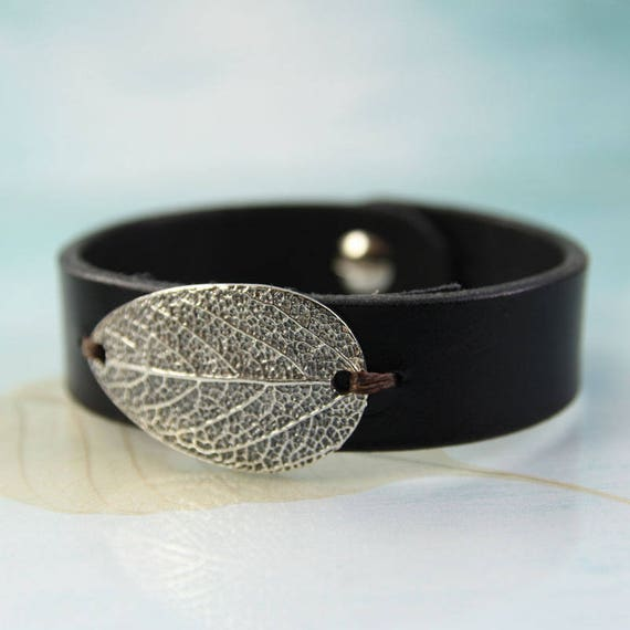 Leather & Silver Sage Leaf Bracelet