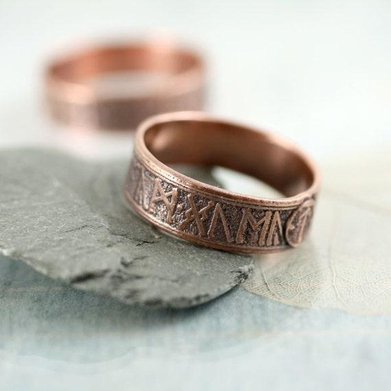 Copper Band Ring - Rustic Viking Treasure - Runes Morte d'Arthur