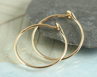 Gold Hoops 14 ct 16 mm Gold Fill Sleeper Earrings  Slim Golden Hoops Eye Hook Closure