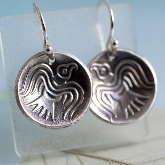Odin's Ravens - Domed Silver Dangle Earrings