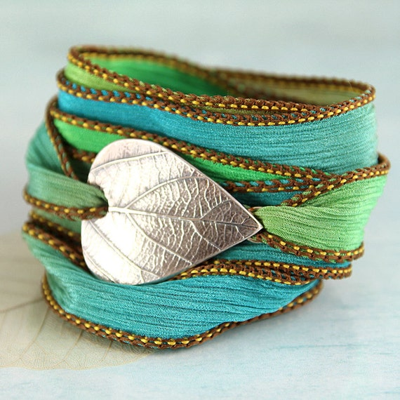Wrapped Bracelet with Silver Leaf Botanical Jewellery Silk Ribbon Wrap Yoga Jewelry Nature Soft Bracelet New Mother GIft
