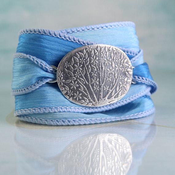Silver Bracelet with Silk Ribbon Cuff Flowering Garden Mirabelle