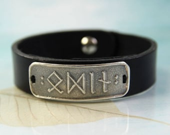 Leather Bracelet With Silver Runes Plate - Choose your own 4-5 Viking Runes | Viking Bracelet | Viking Jewellery | Mens bracelet