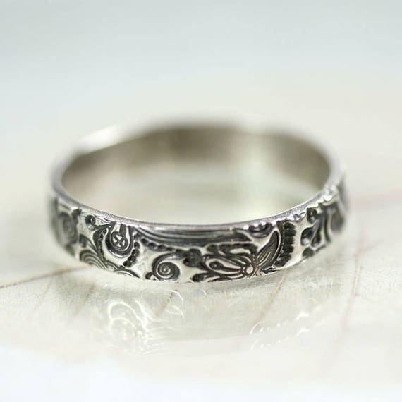 Fairytale Vine Silver Ring Band Flowers