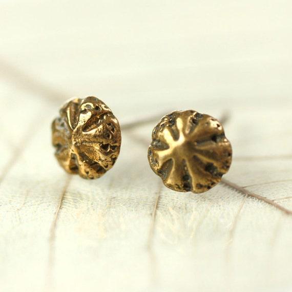 Bronze Stud Earrings Tiny Sea Urchins