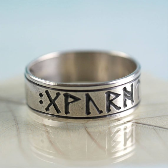 Silver Rune Ring  Name Ring  Custom Runes of Your Choice