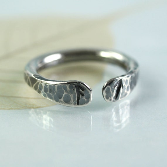Open Silver Rune Ring Stamped with Two Runes of your Choice Customize a Gift Mans Ring