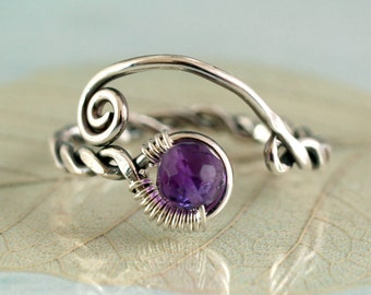 Silver Viking Ring with Amethyst - Handmade Rustic Jewellery | Adjustable Ring | Twist Ring | Wire Wrap Ring | Viking Jewellery SIlver Ring