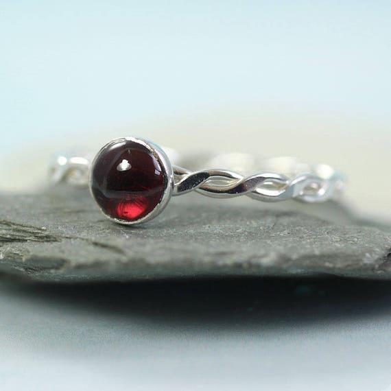 Garnet Silver Ring Twist Ring  January Birthstone Gift