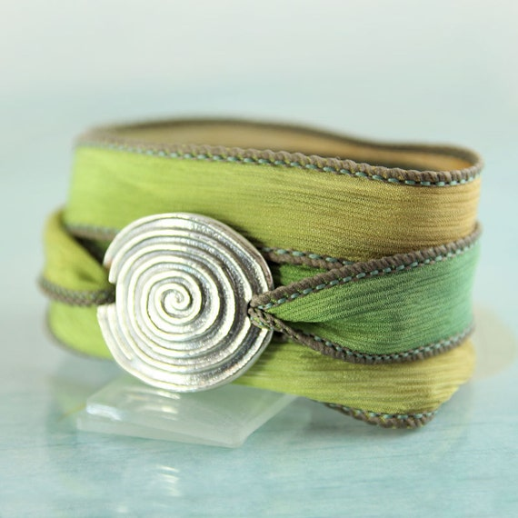 Silver & Silk Bracelet with Spiral Symbol