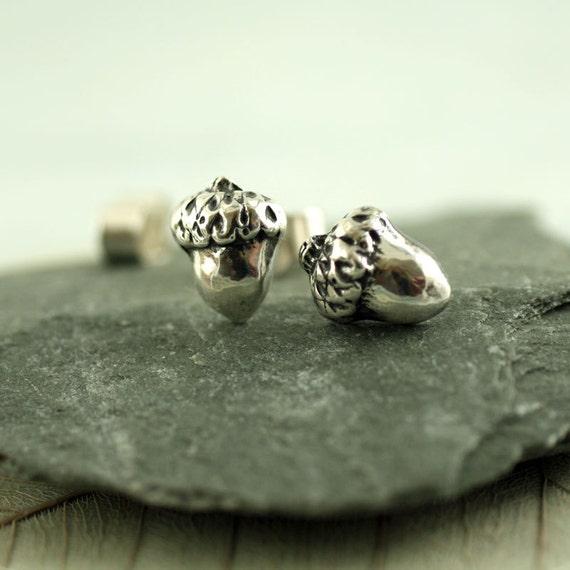 Silver Acorn Stud Earrings - Woodland jewellery