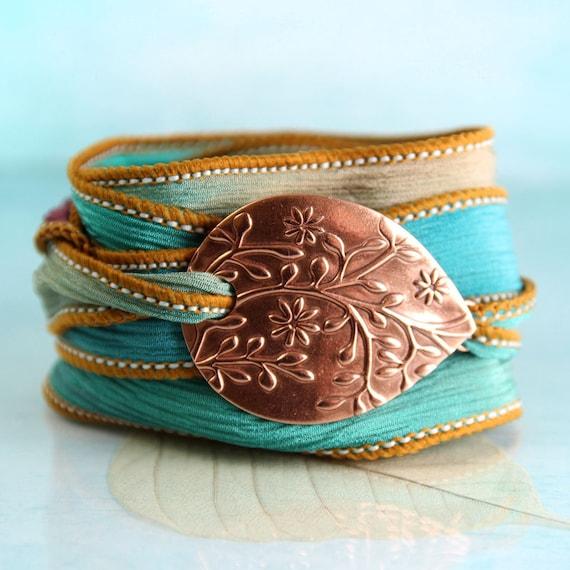 Copper Flower Bracelet  Silk Ribbon Wrist Wrap Cuff