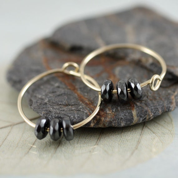 Gold Hoops with Bloodstone Beads  14 ct Gold Fill