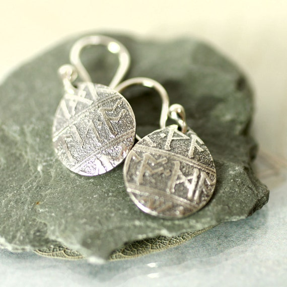 Silver Viking Rune Earrings  Teardrop Earrings Gift for Women Gift idea