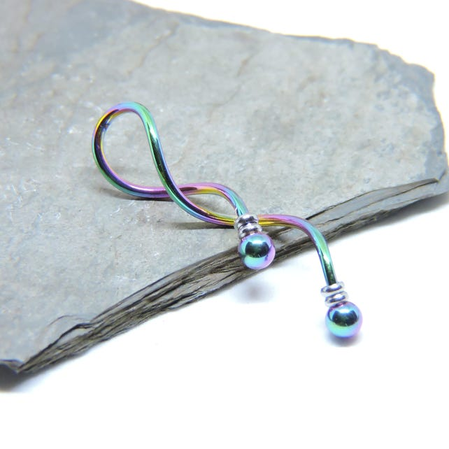 Industrial Barbell RAINBOW Spiral Beaded Industrial Piercing | Etsy