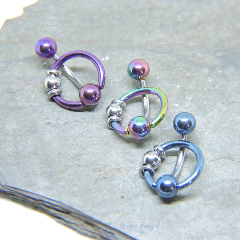 Purple Blue Rainbow Black Intimate Piercing Jewelry Vertical Hood Piercing Barbell 14G 12G 10G Slave Ring VCH Straight or Curved Bar