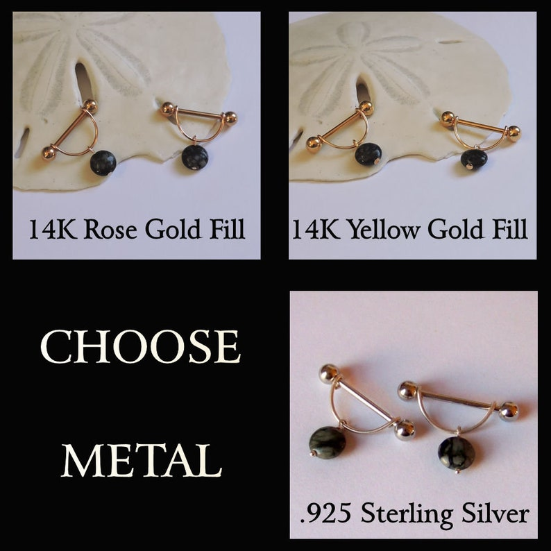 Nipple Barbells SET OF 2 Silver Nipple Shield Stirrup Rings 16G 14G 12G Sterling Silver or 14K Gold Fill /& Amethyst Nipple Cage Jewelry