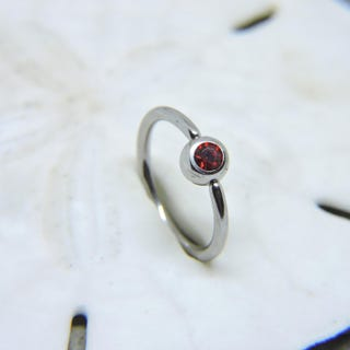 Belly Button Ring - Body Jewelry - Captive Bead Ring Belly Ring - Ruby Red Belly Rings - CBR 16 or 14 Gauge 38 716 12 58