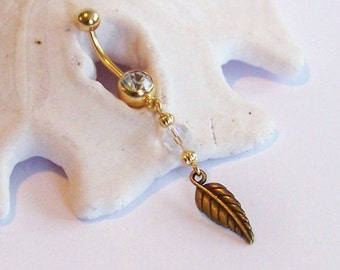 Gold Belly Button Ring - Gold Leaf with Opal Crystal Belly Button Jewelry - Belly Button Jewelry Made to Order