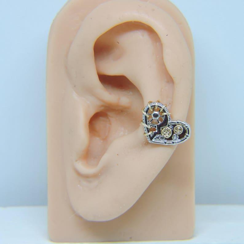 Wire Wrapped in 14K Gold Fill or Sterling Silver Heart Bar Earring Helix Cartilage Piercing 16 Gauge 14 Wire Wrap Steampunk Heart
