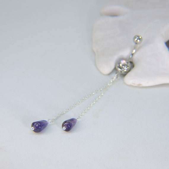 Belly Button Ring Belly Button Jewelry Long Dangle Belly Ring Amethyst And Sterling Silver Chain Belly Jewelry Choose Your Length