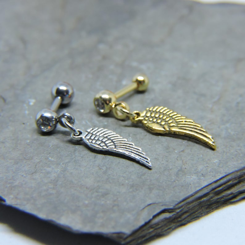 16 Gauge 14 Barbell Angel Wing Dangle Cartilage Ring SILVER or GOLD Made to Order Tragus Helix Upper Ear Cartilage Piercing
