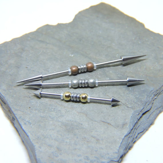 Unique Industrial Barbell Custom Wave Spiked Ear Bar Scaffold Barbell Custom Cartilage Bar 16G  1 14 or 14G  1 14 1 12 1 34