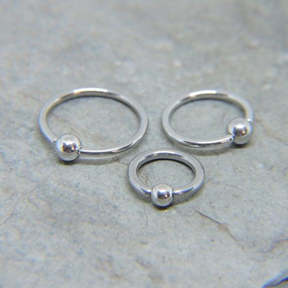 Tiny 18g 1 4 5 16 3 8 Steel Ball Horseshoe Ring Hoop Daith