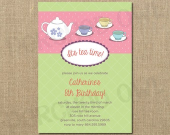 Tea Time Birthday Invitation - Girl - Teacup - Teapot - Children - Surprise Party - Playdate - Digital File