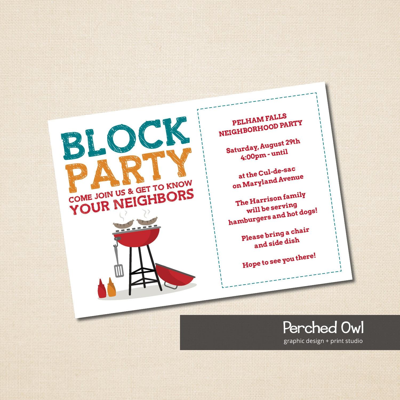 Nachbarschaft Block Party Grillparty Einladung heraus
