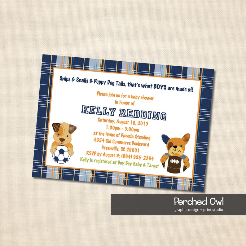 Baby Shower Invitation - Bow Wow - Sporty - Dog - Puppy - Soccer - Football  - Plaid - Nursery Theme - Sports - Baby Animals - Pet - 5x7 File