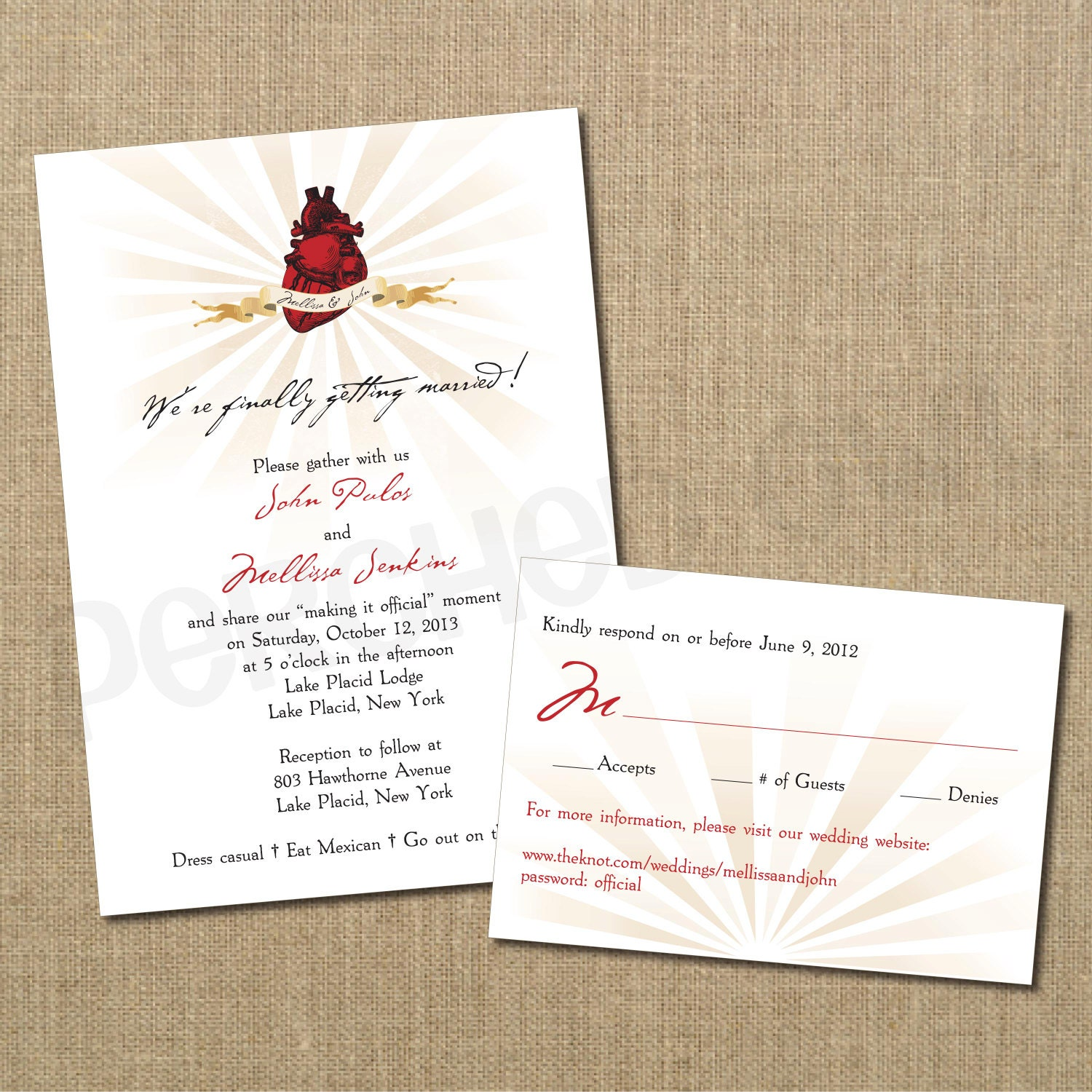 Anatomical Heart Wedding Invitation And Response Card RSVP