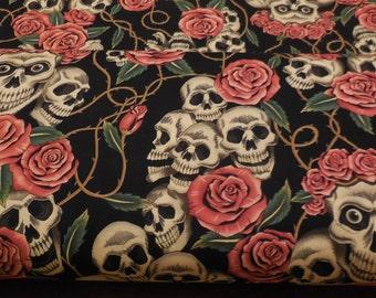 The Rose Tattoo (Skulls & Roses) - Alexander Henry 1 Yard