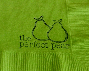 All Occasion pear Wedding- Bridal Shower- Beverage - Embossed Napkin Cockail Fruit