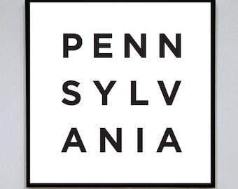 Pennsylvania (PA) Printable Digital Art - Typography Wall Decor