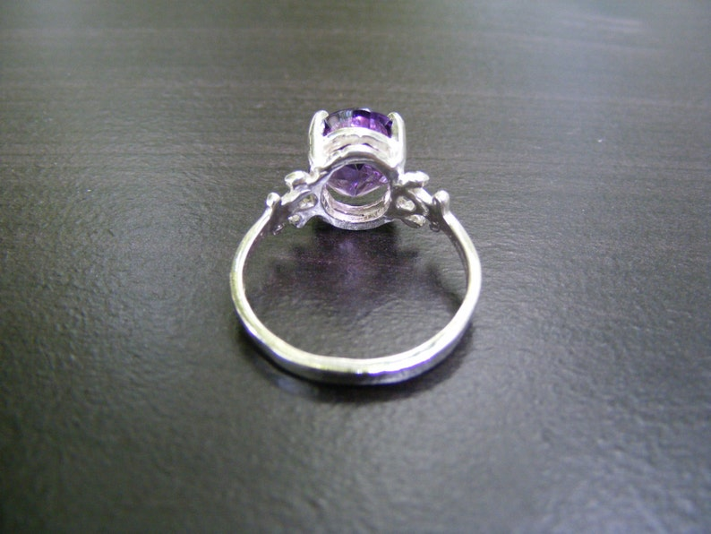 S18 Made to Order...Solid Sterling Silver or Solid Gold Simple Band Mounting With 4 carat Natural Amethyst Gemstone