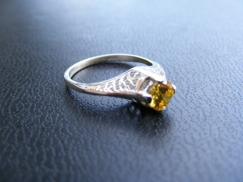 S132 Made to Order.. Sterling Silver Antique Filigree Ring with Canary Yellow CZ Gemstone