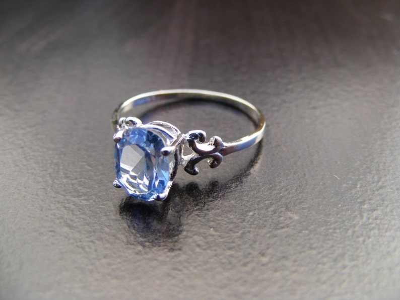 S37 Made to Order...Solid Sterling or Solid Gold  Silver Scrollwork Ring With 2 Carat Natural Blue Topaz Gemstone