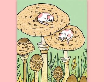 Mushroom Kitties Postcard