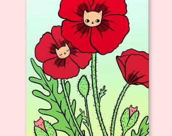 Poppy Kitty Postcard