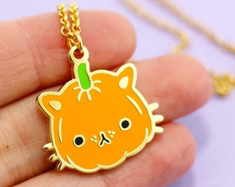 Pumpkin Kitty Necklace