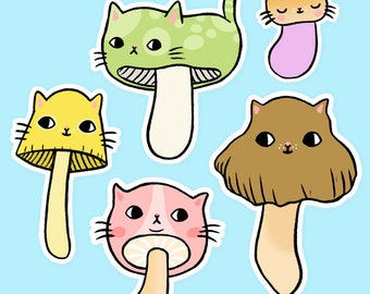 Mushroom Kitty Vinyl Stickers