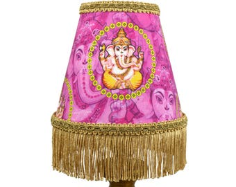 Pink Gold Ganesh Small Lampshade Chandelier Shade - Quirky Home Decor